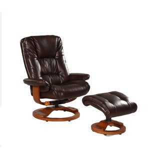 Memory Foam Brown Espresso Bonded Leather Comfort Chair with Ottoman