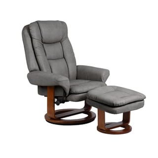 Grey Gun Metal Bonded Leather Comfort Chair with Ottoman
