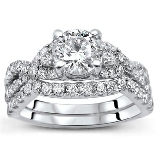 18K White Gold 1.25ct TDW Certified Round Diamond 2-Piece Ring Set (F-G, SI1-SI2)