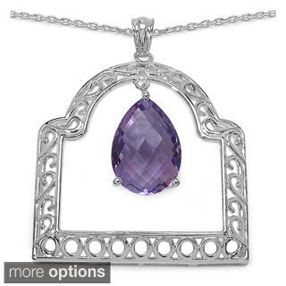 Sterling Silver Genuine Gemstone Pendant Necklace