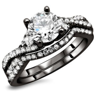 18K Black Gold 1.25ct TDW Certified Round Diamond 2-Piece Bridal Ring Set (F-G, SI1-Si2)