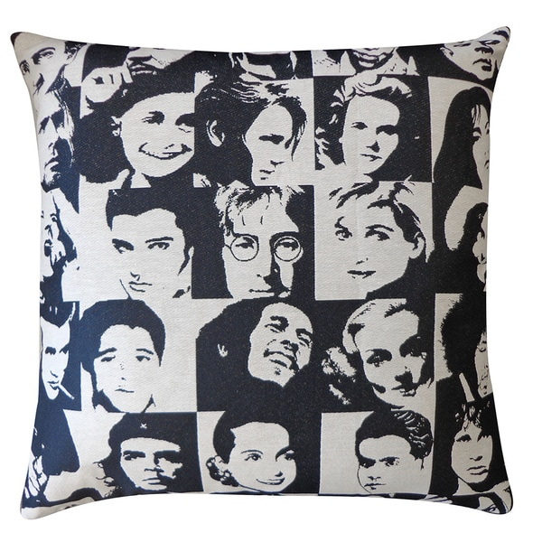 Black and White Icon Throw Pillow