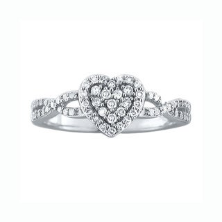 10k White Gold Diamond Heart Ring (H-I, I1-I2)