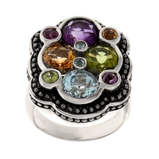 Samuel B. Sterling Silver Multi Gemstone Cluster Ring