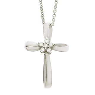 Neda Behnam 14k White Gold Diamond Cross Necklace