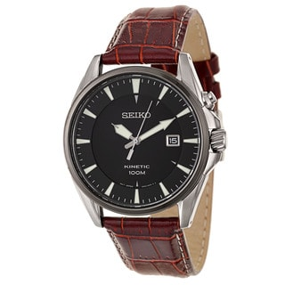 Seiko Men's 'Kinetic' Stainless Steel Power Reserve Burgundy Leather Watch