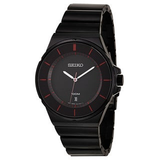 Seiko Men's 'Bracelet' Stainless Steel Black Ion Plated Watch