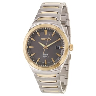 Seiko Men's 'Solar' Stainless Steel and Yellow Goldplated Solar Powered Quartz Watch