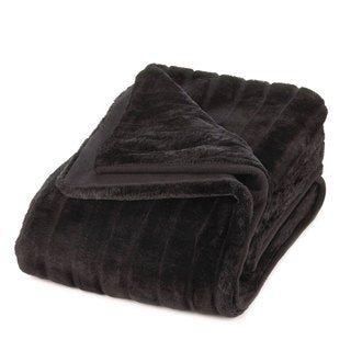 Deluxe Black Faux Fur Throw Blanket