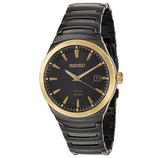 Seiko Men's 'Solar' Black Stainless Steel and Yellow Goldplated Solar Powered Quartz Watch