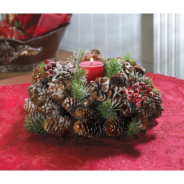 Frosted Pine Cone Wreath Candleholder