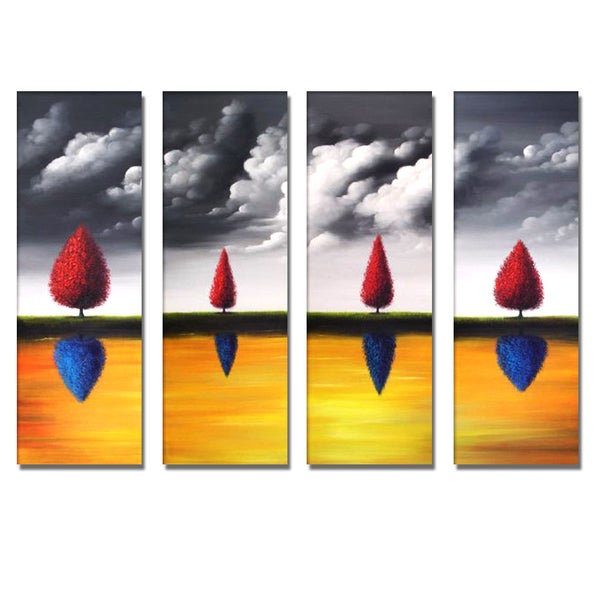 'Abstract Tree Reflections' 4-piece Hand Painted Canvas Art 12095209