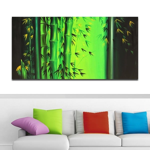 'Abstract Bamboo' Hand Painted Art 12095215