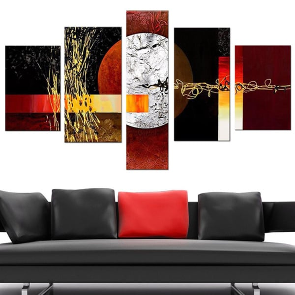 'Abstract Geo Painting' 5-piece Hand Painted Canvas Art 12095227