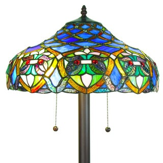 Warehouse of Tiffany 'Arielle' Blue Tiffany Style Floor Lamp