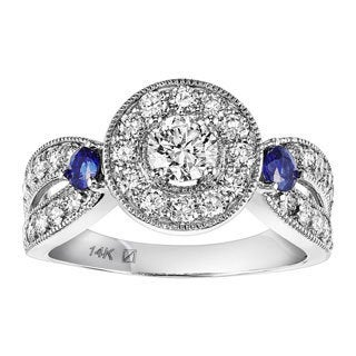 14k White Gold 1 1/5ct TDW Blue Sapphire Accent Diamond Ring