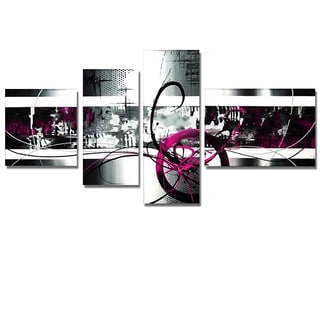 'Fuschia & Grey Abstract' 4-panel Hand Painted Canvas Art