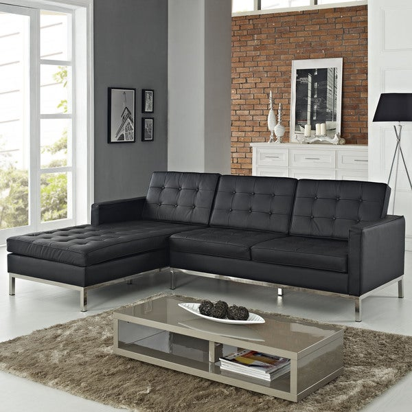 Leather Right-Arm Corner Sectional Sofa