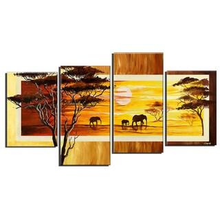 'African Landscape Elephants' Hand Painted Canvas Art
