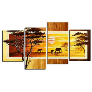 'African Landscape Elephants' Hand Painted Canvas Art