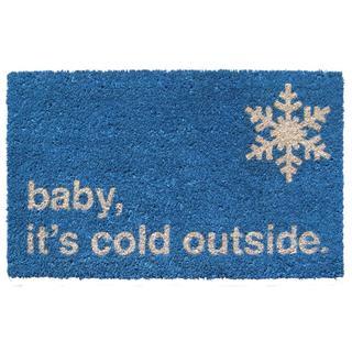 Baby It's Cold Blue Coir Non-Slip Doormat (1'5 x 2'4)