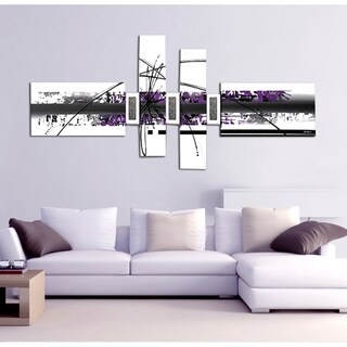 'Abstract White and Purple' 7-piece Hand Painted Canvas Art