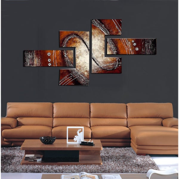 Abstract Red Brown Painting 4 Piece Hand Painted And