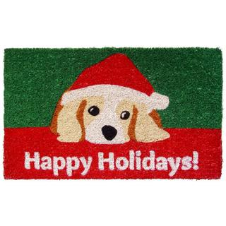 Handwoven Dog Lovers Holiday Coconut Fiber Doormat (1'6 x 2'6)