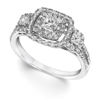 Cambridge 14k White Gold 1ct TDW Cushion Halo Diamond Ring