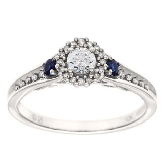Cambridge 10k White Gold 1/3ct TDW Diamond and Sapphire RIng