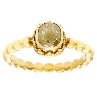 Neda Behnam DFAC 22k Yellow Gold Yellow Cushion Cut Rough Diamond Ring