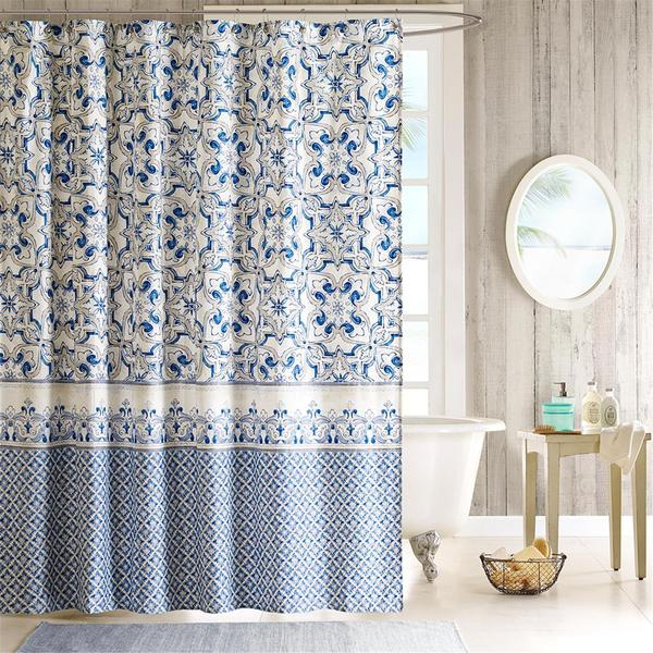 Annex Printed Cotton Sateen Shower Curtain