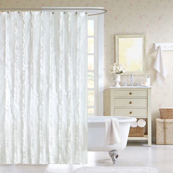 Madison Park Holly Ruffled White Cotton Shower Curtain