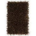 Hand-woven Brown Solid Shag Wool Rug (1'8 x 2'8)