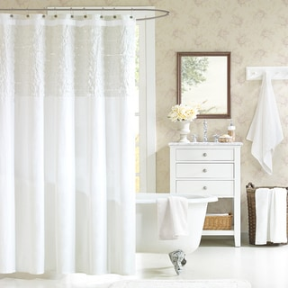 Madison Park Shelly Ruffled White Cotton Shower Curtain