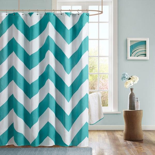 Mi Zone Aries Chevron Microfiber Shower Curtain 15854520 Overstock