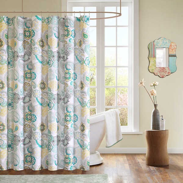 Mi Zone Lucia Contemporary Microfiber Shower Curtain