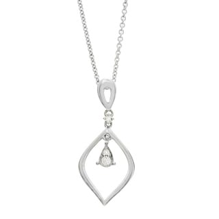 Diamonds For A Cure 14k White Gold Diamond Pear Shape Drop Necklace