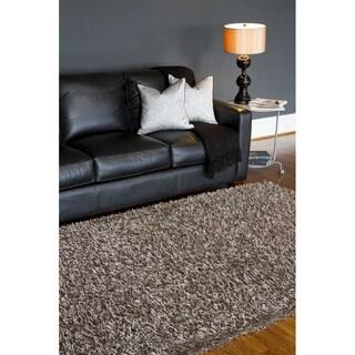 Hand-woven Grey Shag Polyester Rug (4'7 x 6'7)