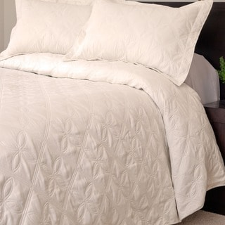 Lavish Home Andrea 3-piece White Quilt Set