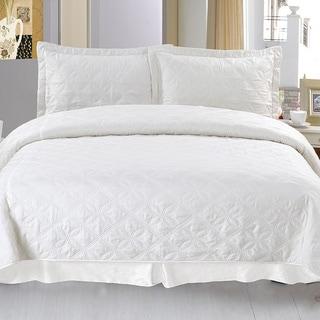 Lavish Home Andrea 3-piece White Quilt Set