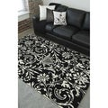 Hand-tufted Black Floral Contemporary Wool Rug (5'7 x 7'11)
