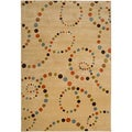 Meticulously Woven Beige Abstract Contemporary Rug (1'8 x 2'6 )