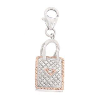 Diamonds For A Cure 14k Gold Quilted Purse Charm
