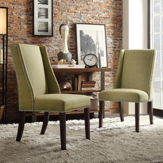 Inspire Q Regency Yellow Green Linen Nailhead Wingback Hostess Chair (Set of 2)