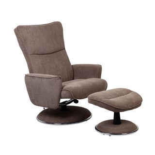 Mushroom Fabric Comfort Chair with Ottoman