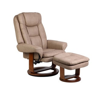 Sand Nubuck Bonded Leather Comfort Chair with Ottoman