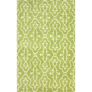 nuLOOM Handmade Green/ Ivory Transitional Lattice Wool Rug (5' x 8')
