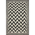 nuLOOM Flatweave Black/ White Geo Border Chevron Wool Rug (5' x 8')