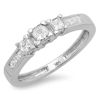 14K White Gold 3/5ct TDW Princess Diamond 3-stone Engagement Ring
